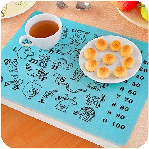Educational Kids Placemats Set of 6 Alphabet Numbers Animal Colors - Bundle - Non Slip Washable