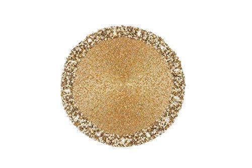 NOMI K Classic Circular Beaded Placemat Gold