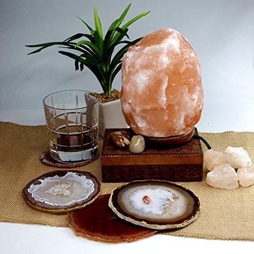 6 Lbs Himalayan Salt Lamp with Brazilian Agate Coasters Set of 4