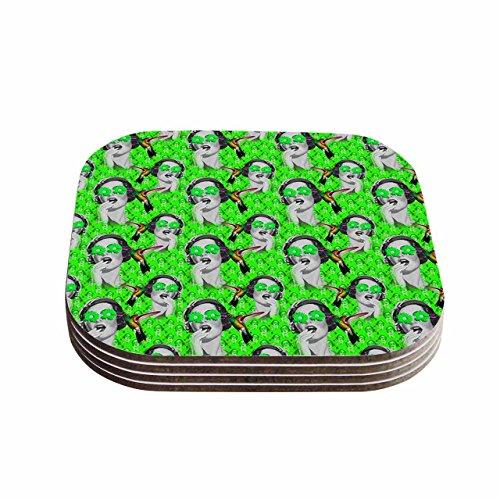 KESS InHouse Shirlei Patricia Muniz Good Vibes Green Vintage Coasters Set of 4 4 x 4 Multicolor