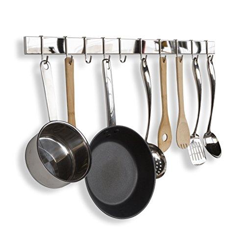 WALLNITURE Kitchen Bar Rail Pot Pan Lid Rack Organizer Chrome 30 Inches Long