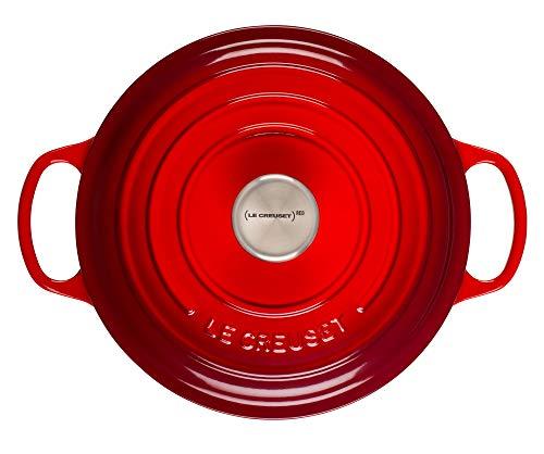 Le Creuset of America L2545-2267SS 275 qt Shallow Stainless Steel Knob-Cerise Cast Iron Dutch Oven 275qt
