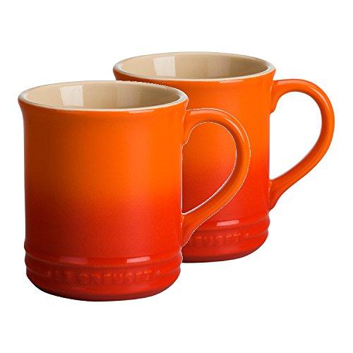 Le Creuset of America Stoneware Set of 2 Mugs 12-Ounce Flame