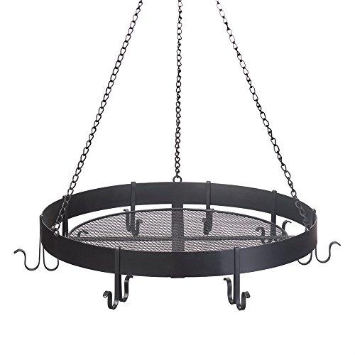 Hanging Pot Rack Black Cast Iron Overhead Pot Rack Antique Circular Pot Holder