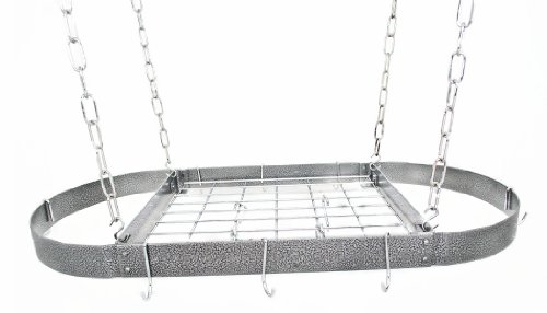 Rogar Hammered Steel and Chrome Oval Pot Rack with Grid 375-in