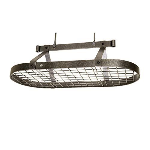 Enclume Premier 3-Foot Oval Ceiling Pot Rack Hammered Steel