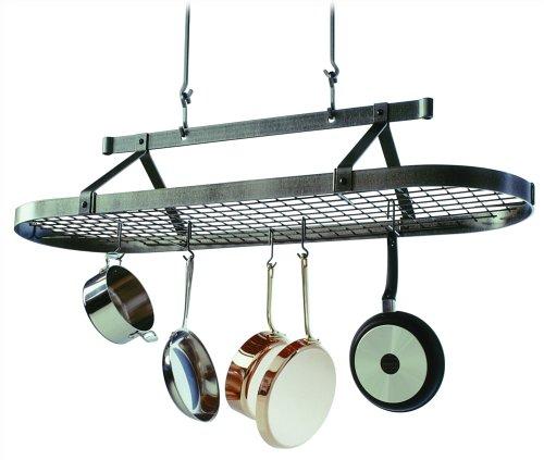 Enclume Premier 5-Foot Oval Ceiling Pot Rack Hammered Steel