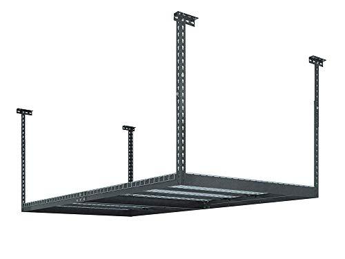 NewAge Products 40151  4-Feet by 8-Feet Ceiling Mount Garage Storage Rack Grey