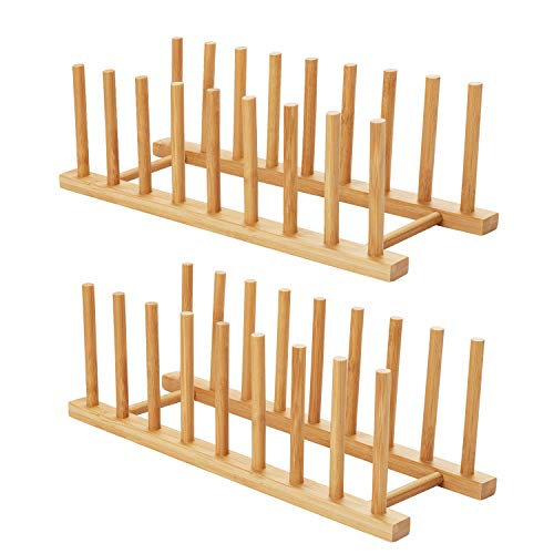 HBlife 2pcs Bamboo Dish Plate Bowl Cup Book Pot Lid Cutting Board Drying Rack Stand Drainer Storage Holder Organizer Kitchen Cabinet(Keep Dry)