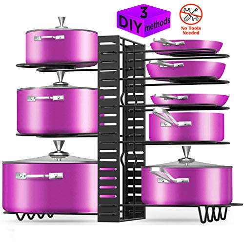 Pot Rack Organizer Adjustable 8 Tiers Height and Position Pots and Pans Organize3 DIY Methods Pot Lid Holder Organize for Kitchen Cabinet Countertops Storage