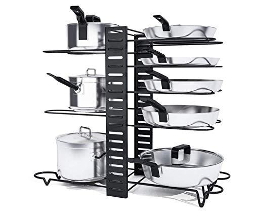 Pot Rack Organizer with 3 DIY Methods Black Metal Kitchen 8 Pots Holder Height and Position are Adjustable Cabinet Pantry Pot Lid Holder