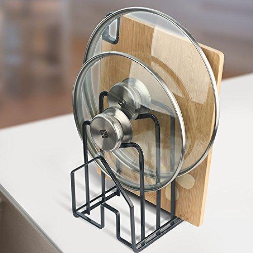 Home-organizer Tech Self Draining Drying Drainer Rack Pot Lid Rack Pan Organizer Rack with 4 Shelves Black