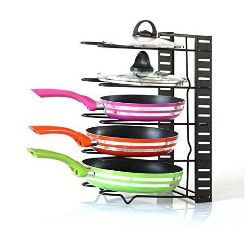 MakerHawk Home Kitchen Adjustable Cookware Holders Pan Organizer Rack Pot Lid Holders Pot Organizer Cabinet Pantry Pan and Pot Lid Organizer Rack Holder Black