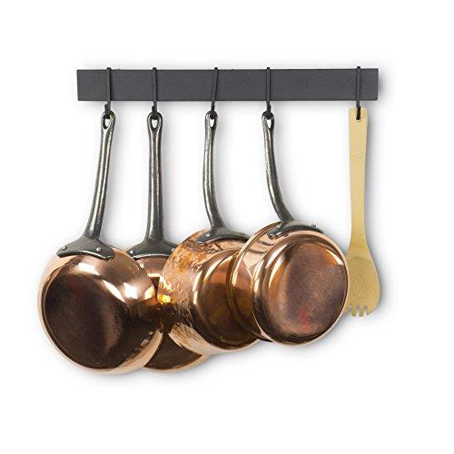 WALLNITURE Hanging Utensil Organizer Pot Pan Lid Rack Iron Frosty Black Finish 17 Inch