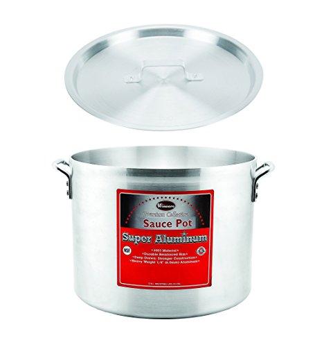 Winco AXHA-60 60-Quart 18 x 13-34 Aluminum Sauce Pot With 6-Mm Super Aluminum Bottom with Cover Commercial Grade Stock Pot with Lid