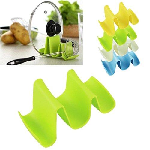 Fashionclubs Kitchen Pot Pan Lid Spoon Stand Holder Rack Wave Shape Utensil Organizer Random Colorr