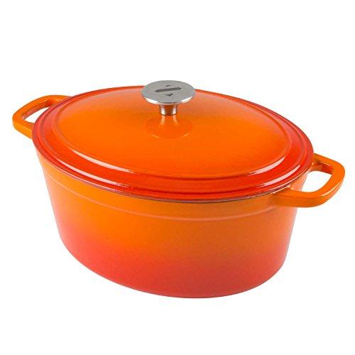 Zelancio Cookware 6-Quart Enameled Cast Iron Oval Dutch Oven Cooking Dish with Skillet Lid Tangerine Orange