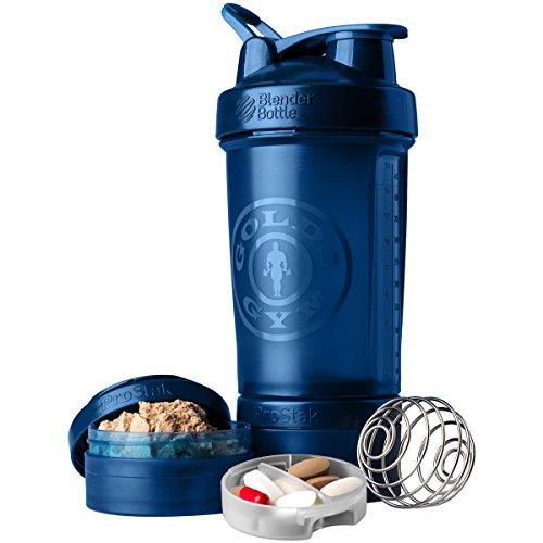 Blender Bottle Golds Gym ProStak 22 oz Shaker with Twist N Lock Jars - Blue