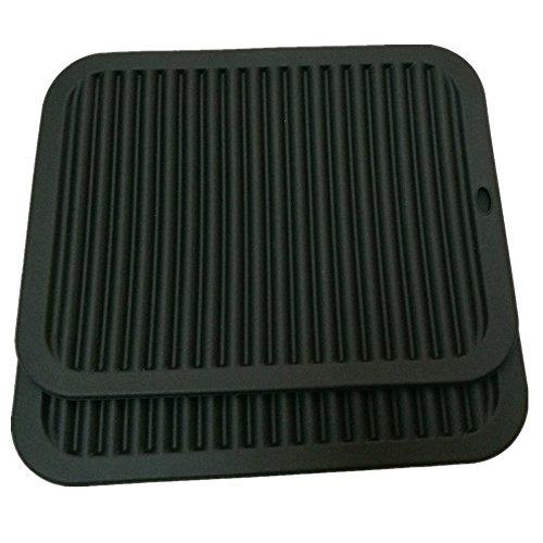 Smithcraft 9X12 Big Silicone Trivets mat Multi-purpose Drying Trivet Mat Pot Holder Waterproof Set of 2 Non Slip Flexible Durable Dishwasher Safe Black