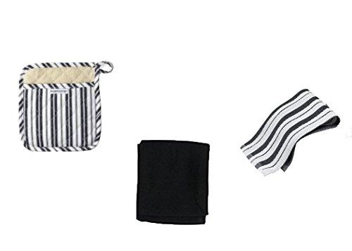 William Sonoma Black Pot Holder Kitchen Towel Set