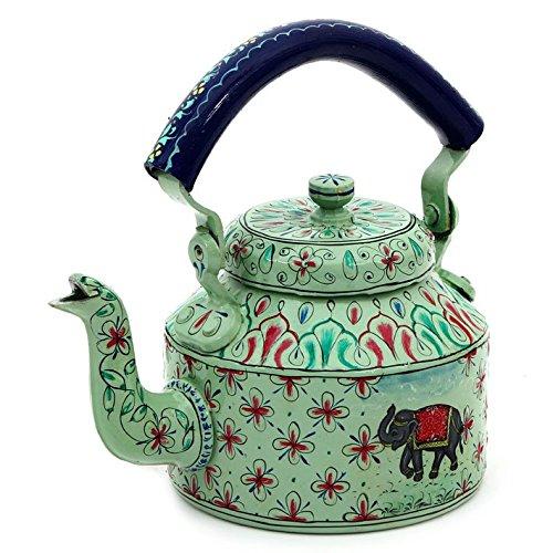Indian Traditional Hand Painted Tea Kettle Tea Pot Steel Big Elephant