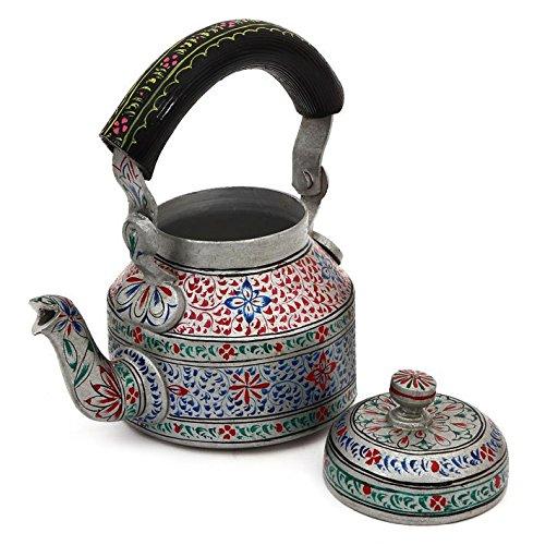Indian Traditional Hand Painted Tea Kettle Tea Pot Steel Elegance