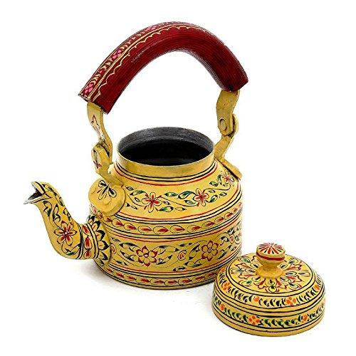 Indian Traditional Hand Painted Tea Kettle Tea Pot Steel Elegance II