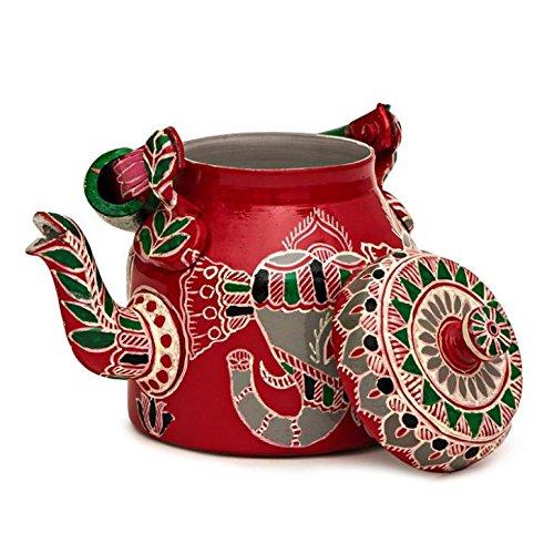 Indian Traditional Hand Painted Tea Kettle Tea Pot Steel Elephant