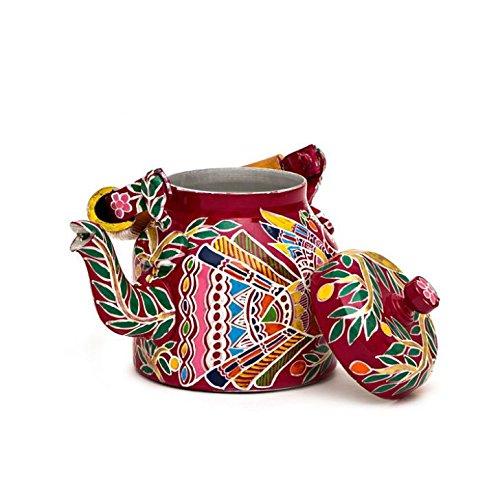 Indian Traditional Hand Painted Tea Kettle Tea Pot Steel Peacock