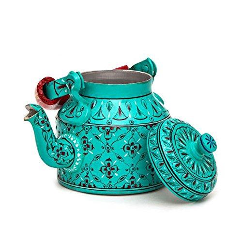 Indian Traditional Hand Painted Tea Kettle Tea Pot Steel Vibrant Blue