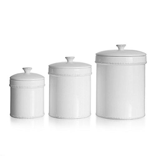 3-piece Bianca Dash White Ceramic Canister Set