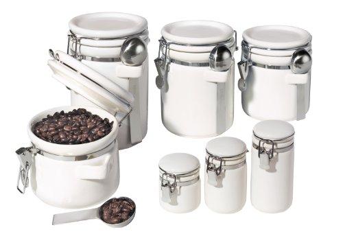 Oggi 7-Piece Ceramic Airtight Canister Set White