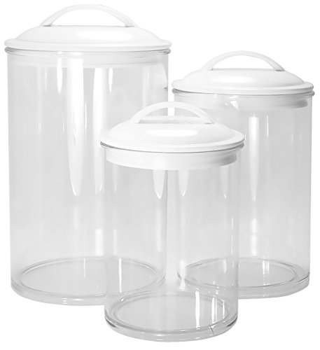 Calypso Basics by Reston Lloyd Acrylic Storage Canisters Set of 3 White