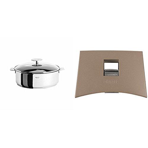 Cristel Casteline S26QMPEKP Saute Pan 5 quart Silver with Cristel Mutine Plmat Side Handle Taupe