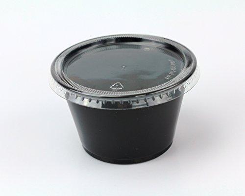 Disposable 4oz Plastic Condiment Cups with Lids Sample Cup Jello Shot Cups Salad Dressing Souffle Portion Sampling 200 Black
