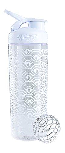 BlenderBottle SportMixer Signature Sleek Shaker Bottle Clamshell White 28-Ounce