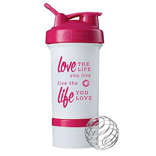 Love Life Prostak Blender Bottle 22oz Protein Shaker cup with Twist N Lock Storage WhitePink