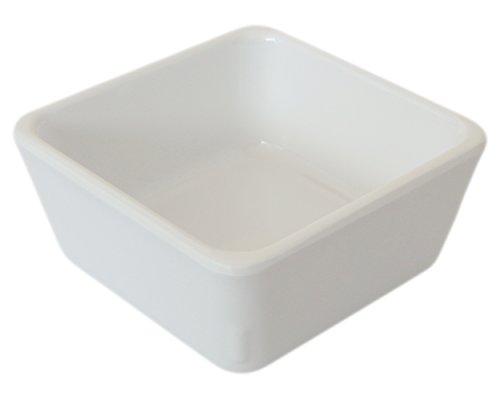 Set of 6 Amatahouse Square Soy Sauce Dish Sushi Wasabi Plates Soy Sauce Dipping Bowls Ektra Melamine White 275 inch B2084
