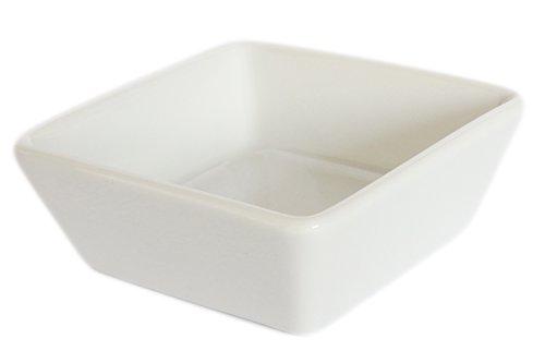 Amatahouse Elegant Square Sauce Dish Sushi Wasabi Plates Soy Sauce Dipping Bowls Royal Porcelain Classic White 2-34x2-34 4174