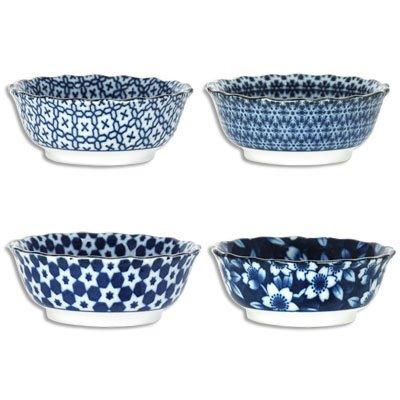 Set of 4 Japanese 375D Soy Sauce Bowl Set Porcelain Assorted Print Made Japan