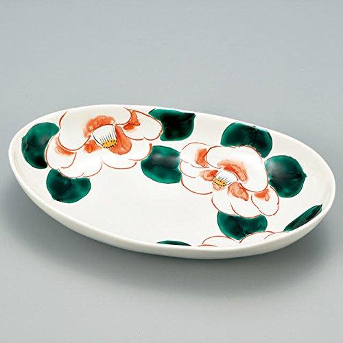 Japanese Ceramic Porcelain kutani ware Serving dish Salada plate Camellia Japanese ceramic Hagiyakiya 218