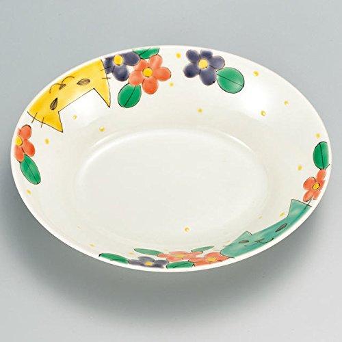 Japanese Ceramic Porcelain kutani ware Serving dish Salada plate Flower and cat Japanese ceramic Hagiyakiya 226