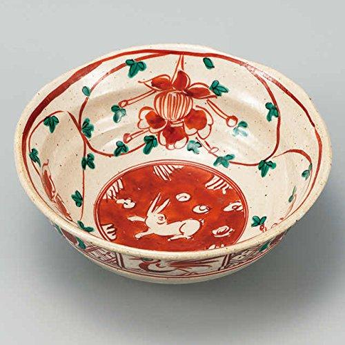 Japanese Ceramic Porcelain kutani ware Serving dish Salada plate Rabbit red painting Japanese ceramic Hagiyakiya 237