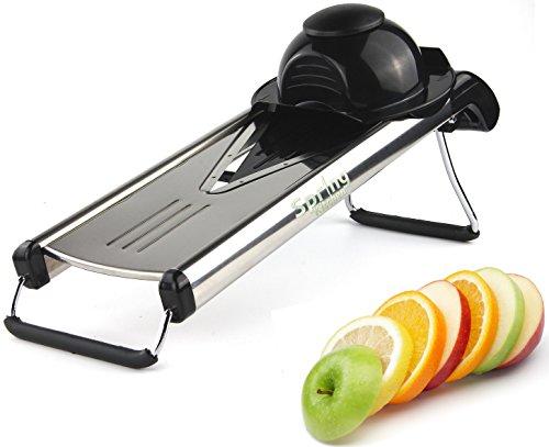 Spring Kitchen - Premium V-blade Stainless Steel Mandoline Food Slicer Cutter. 5 Different Inserts(black)