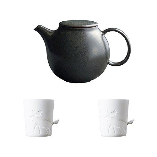 KINTO PEBBLE Black Porcelain Teapot and Two MUGTAIL Moose Porcelain Mug Set of 3