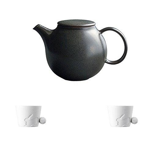 KINTO PEBBLE Black Porcelain Teapot and Two MUGTAIL Rabbit Porcelain Mug Set of 3