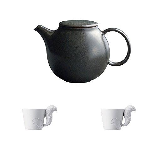 KINTO PEBBLE Black Porcelain Teapot and Two MUGTAIL Squirrel Porcelain Mug Set of 3
