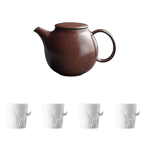KINTO PEBBLE Brown Porcelain Teapot and Four MUGTAIL Fawn Porcelain Mug Set of 5