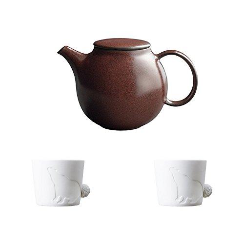KINTO PEBBLE Brown Porcelain Teapot and Two MUGTAIL Bear Porcelain Mug Set of 3