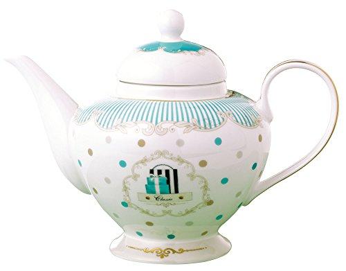 Jusalpha Royal Vintage Blue Dot Fine Bone China Teapot D